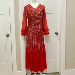 Vintage Red long-sleeve  beaded and sequined chiffon evening dress